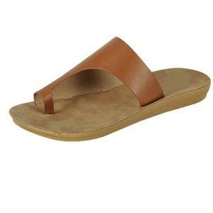 Shoes - Women's Tan Color Slip On Sandals